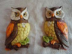Vintage Lefton Pair of Orange Brown Owls Ceramic Made in Japan Numbered 382 Vintage Owl, Retro Vintage, Owl Sewing, Intarsia Patterns, Owl Ornament, Clay Mugs, Diy Crafts Hacks, Owl Art, Orange Brown