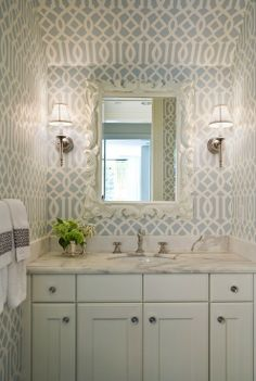 House of Turquoise - powder room trellis wallpaper Bathroom Inspiration, Pretty Bathrooms, Wallpaper Trends, Small Bathroom, Bathroom Decor, Trellis Wallpaper, Bathroom Wallpaper, Powder Room Design, Bathroom Design