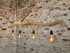 Ceiling lamp of 160 cm old Oak branch and lampshades in model and color of your choice. Ceiling Lamp, Ceiling Lights, Natural Lamps, Unique Floor Lamps, Driftwood Lamp, Stainless Steel Cable, Weathered Oak, Led Lampe, Lamp Shades