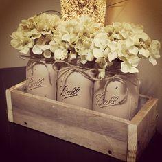 Painted Mason Jar Decor, Mason Jar Centerpiece, Floral Centerpiece, Mason Jars…