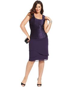 Le Bos Plus Size Outfit, Three-Quarter-Sleeve Jacket, Sleeveless Top & Tiered Skirt - Plus Size Dresses - Plus Sizes - Macy's