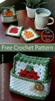 Newest Photo Crochet coasters with basket Strategies Free Crochet Pattern – Fall Harvest Coasters & Basket Set by A Crocheted Simplicity Crochet Kitchen, Crochet Home, Crochet Gifts, Free Crochet, Knit Crochet, Crochet Daisy, Crochet Motif, Crochet Designs, Easy Crochet