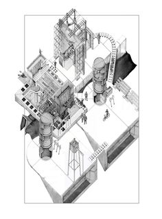 archisketchbook - architecture-sketchbook, a pool of architecture drawings, models and ideas - The Frame House by Omar Ghazal. Architecture Sketchbook, Architecture Graphics, Architecture Portfolio, Architecture Design, Architecture Diagrams, Victorian Architecture, Axonometric Drawing, Isometric Drawing, 3d Max