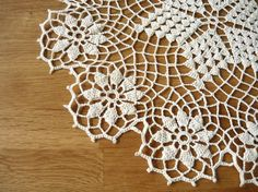 Ecru crochet doily Handmade table decoration home by MariAnnieArt