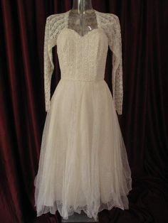 vintage 50's lace tea length wedding dress  $788.58