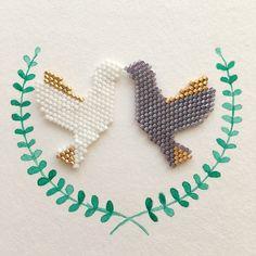 DIY tissage brickstitch perles Miyuki motif colombe par Lovelyoupi