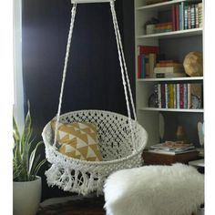 Not sure I could do this but it is awesome! It would look so nice in my room . Boho Chic on a Budget: DIY Hanging Macramé Chair — Classy Clutter Macrame Hanging Chair, Macrame Chairs, Diy Hanging, Hanging Chairs, Swing Chairs, Hanging Beds, Hanging Hammock, Ceiling Hanging, Hanging Basket