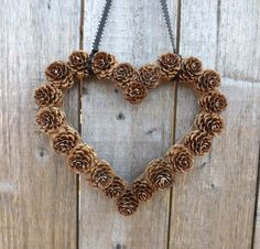Heart Shaped Pine Cone Wreath Rustic decor Wreath by FeltWitch, £6.00