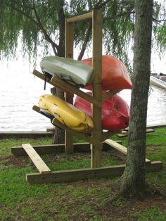 Wooden Kayak Kayak Rack Plans Dopepicz How To Build A Wooden Canoe Storage, Storage Racks, Diy Kayak Storage Rack Plans, Diy Storage, Storage Ideas, Kayak Stand, Lake Dock, Boat Dock, Lake Kayak