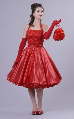 Petticoat dress 50s / red vintage dance - charlott-atelier - Prom Dresses