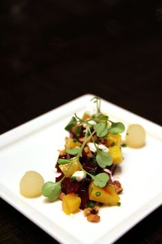 Delicious and healthy combine to create an unbeatable beet salad made with sherry vinegar, thyme, cumin seed, black peppercorns, baby arugula, goat cheese and parsley. Try it at Wicked Spoon. #buffet