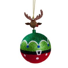 Our friend Rudolph loves this Red & Green Reindeer Hanging Bauble - 8cm