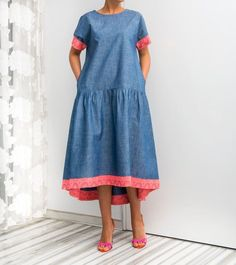 Bohemian Denim Maxi Dress with Pockets Blue by cherryblossomsdress