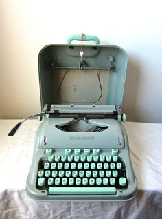 On Sale Mint Green Hermes 3000 Typewriter Cursive by meedily