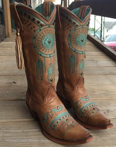 Corral Women's Tan Turquoise Dream Catcher Western Boots C2981