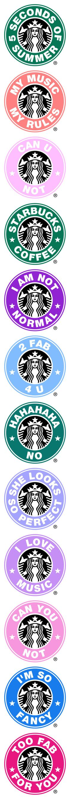 """Starbucks Logos"" by enchantedbrunette ❤ liked on Polyvore featuring starbucks, logos, starbuckslogos, 5sos, fillers, starbucks logo, 5 seconds of summer, backgrounds, circle and circular"