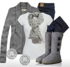 gray sweater, white shirt, jeans, gray boots