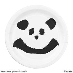 Panda Face Paper Plate  Available on more products! Type in the name of the design in the search bar on my Zazzle Products Page. Thanks for looking!   #home #decor #kitchen #dining #fun #zazzle #buy #sale #cute #cuddly #panda #bear #cartoon #illustration #black #white #drawing #nature #planet #earth #animal #friend