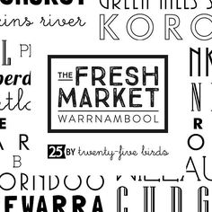 A fresh and fun collaboration I've been working on with the @freshmarketwarrnambool - limited edition tea towels showcasing produce locations and produce available at this fabulous fresh market! Available this Sunday 9am at 'Fresh Green' Lake Pertobe Warrnambool #twentyfivebirds #teatowels #design #print #freshmarketwarrnambool #freshmarketbasket #warrnambool#3280 #greatoceanroad #lakepertobe #designerteatowel #blackwhite #teatowel by twentyfivebirds