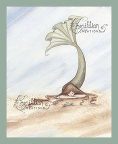 Beach Turtle Mermaid Print from Original Watercolor Painting by Camille Grimshaw. $6.99, via Etsy.
