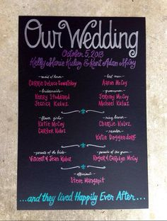 Beautiful jewel tones for wedding. Deep purple, dark pink, turquoise, grey. Custom Hand-Painted 20x30 WEDDING CHALKBOARD POSTER signage wedding ceremony program party menu engagement shower on Etsy