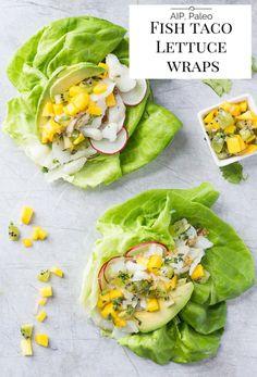 AIP/Paleo Fish Taco Lettuce Wraps with Mango Kiwi Salsa