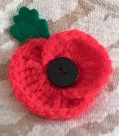 Crochet Poppy made in aid of Royal British Legion Poppy Appeal
