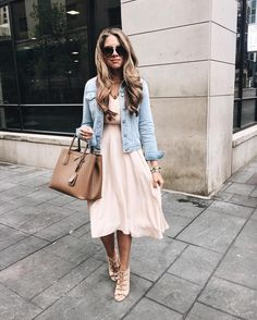 Blush, nude and denim outfit
