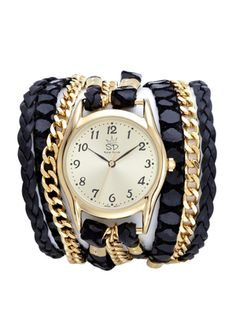 SARA DESIGNS Animal Print Leather and Chain Wrap Watch