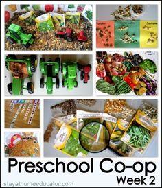 Preschool Co-op Week 2, Seeds and Tractors