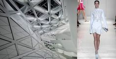 Guangzhou Opera House by Zaha Hadid Architects and Victoria Beckham's Triangle-Appliquéd Silk and Wool-Blend Crepe Shirt.