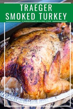 Seasoned and smoked turkey made on your Traeger! This will be your favorite way to make a turkey recipe for the holidays! Seasoned and smoked turkey made on your Traeger! This will be your favorite way to make a turkey recipe for the holidays! Smoker Grill Recipes, Grilling Recipes, Meat Recipes, Dinner Recipes, Smoker Cooking, Smoke Turkey Recipes, Potato Recipes, Yummy Recipes, Recipies