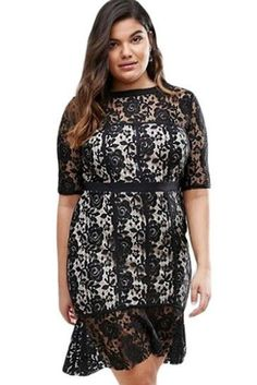 Short Sleeve Peplum Hem Plus Size Black Lace Formal Dress https://www.modeshe.com #modeshe @modeshe #Black