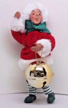 BYERS CHOICE Caroler Kindle Elf Ornament- JINGLE BELL  new for Christmas 2016
