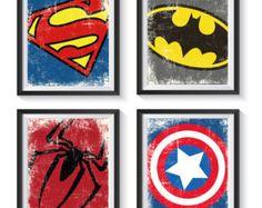 Superhéroe insignia símbolo angustiado Vintage arte sistema