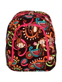 $13.75 Monkey Island Large Backpack with Hot Pink Trim