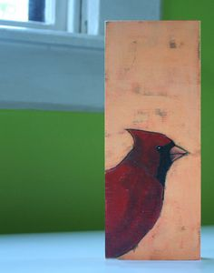 autumn cardinal original a2n2koon sweet male red cardinal bird on layered peach & coral background fine art painting on reclaimed wood block