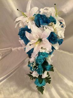 Malibu Turquoise White Silk Wedding Bridal Bouquet Cascade Package 9pc