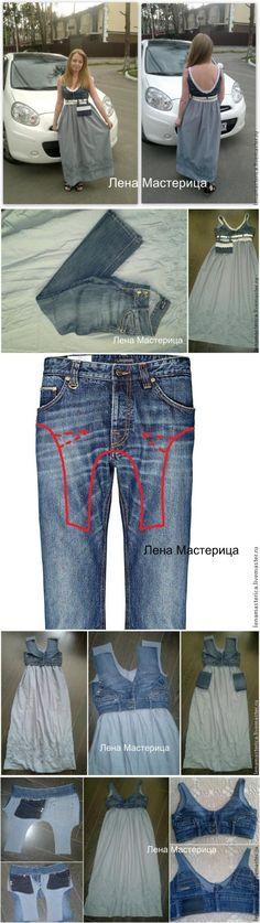 Сарафан из старых джинсов. | переделки | Постила