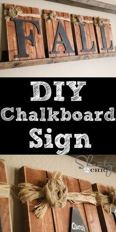 Love this DIY Chalkboard Sign!