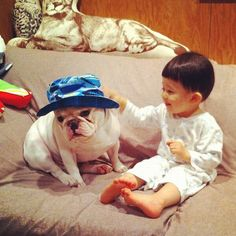 Lovely Friendship Between a Boy and His French Bulldog