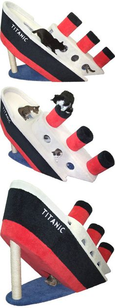 ^ Sinking Titanic Kitty Condo. 6 feet long and 4 feet tall. Special Price: $1,399.30   http://www.hollywoodkittyco.com/sinking-titanic-condo.html  http://www.cozycatfurniture.com/themed_catfurniture/titanic_kittycondo.html