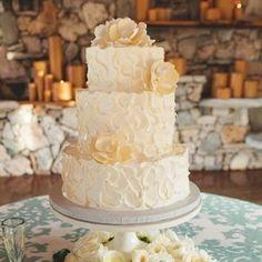 Simple Ceremony: Fall Season Wedding Cake Idea w/ 2 Tiers & White Buttercream.