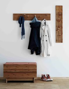 Scoreboard by We Do Wood  The graphical coat hanger was designed to interact and diversify through countless possibilities.
