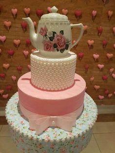 modelo de bolo fake para festa de chá de panela #chadepanela #decoracaodecha Teapot Cake, Princess Tea Party, Fake Cake, 75th Birthday, Decoration, Cake Toppers, Cupcake Cakes, Tea Pots, Cake Decorating