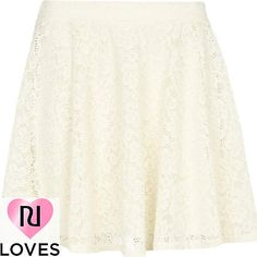 cream lace mini skater skirt - mini skirts - skirts - women - River Island