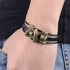 Cool Black Men Bracelet Male Pulseras Punk Rock Vintage Bullet Charm Leather Bracelets&Bangles Multilayer Men Jewelry Wristband