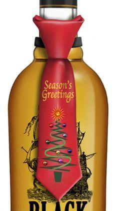 Season's Greetings Tie Bottle Topper has blinking lights H-12-203