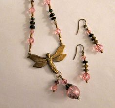 Vintage Style Tourmaline and Crystal Fancy Fairy in by beadlady5, $40.00