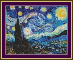 Starry Night - Counted Cross Stitch Pattern by PurpleStitching on Etsy https://www.etsy.com/listing/108099004/starry-night-counted-cross-stitch
